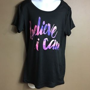 champion believe i can shirt size L 10-12